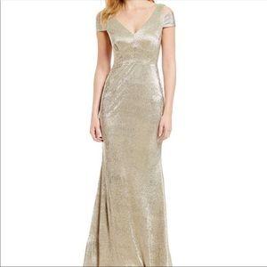 Calvin Klein gold cold shoulder dress